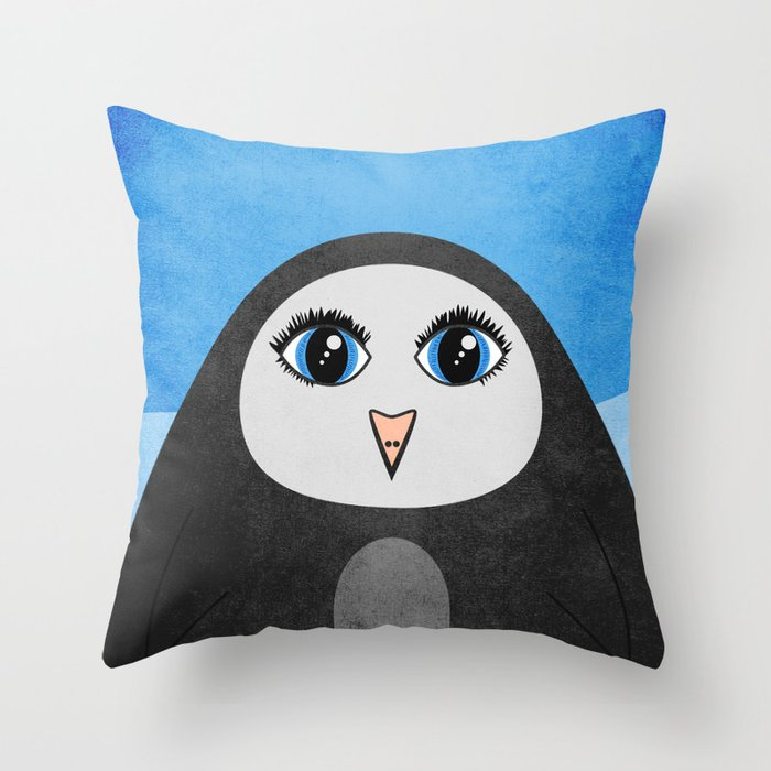 Cute Geometric Penguin Throw Pillow
