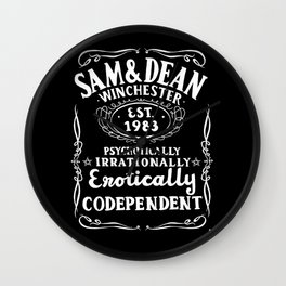 Erotically Codependent - Black Background Wall Clock