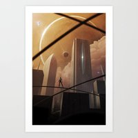 skyline Art Prints featuring Skyline by Jonathan Maurin / Aeon-Lux