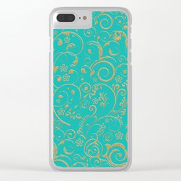 Gold and turquoise Clear iPhone Case