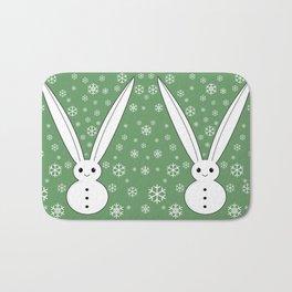 Snow bunny and snowflakes Bath Mat