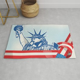 USA flag with statue of liberty.clip art illustration Rug