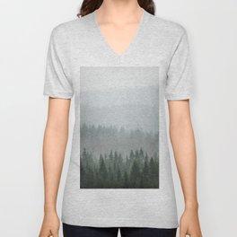 Parallax Monochromatic Misty Pine Forest Landscape Photo Unisex V-Neck