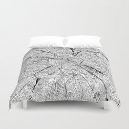 Paris White Map Duvet Cover