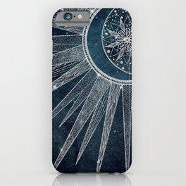 Elegant Silver Sun Moon Doodle Mandala Blue Design iPhone Case