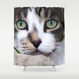 Watching Cat Shower Curtain