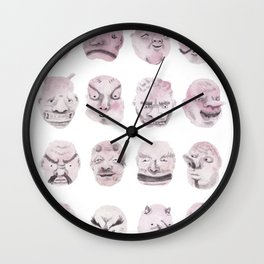 Japanese Noh Masks Wall Clock