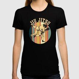 Jiu Jitsu Silhouette Bjj Brazilian Jiu Jitsu Retro  T-shirt