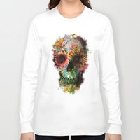 fashion illustration Long Sleeve T-shirts featuring SKULL 2 by Ali GULEC