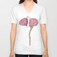 brain V-neck T-shirts featuring BRAIN by Sha Abdullah