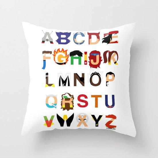 Marvelphabet Heroes Throw Pillow