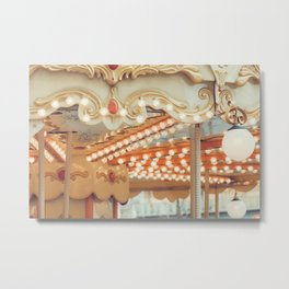 Details of a vintage carousel. Retro toned. Metal Print