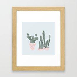 Soft Pastel Cacti Design Framed Art Print