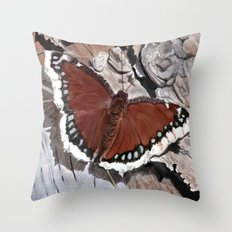 Cloak of Mourning Butterfly Throw Pillow