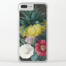 Vintage Floral Print - Four Peonies and a Crown Imperial Clear iPhone Case