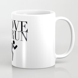 I Love to Run with Running Stick Figure in Black Coffee Mug