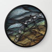 ferris wheel Wall Clocks featuring Ferris Wheel by Juliana Caju