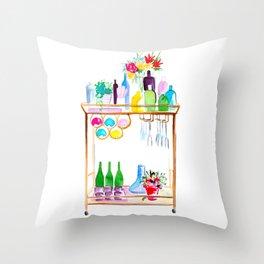 Watercolour Bar Cart Throw Pillow