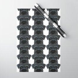 Black Schnauzer, Dog illustration original painting print Wrapping Paper