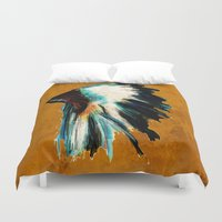 headdress Duvet Covers featuring Native Headdress by James Peart