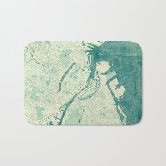 Copenhagen Map Blue Vintage Bath Mat