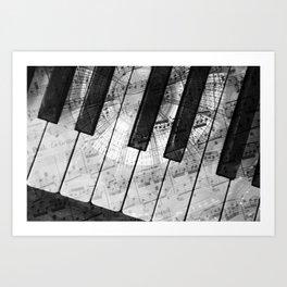 Piano Keys black and white Art Print