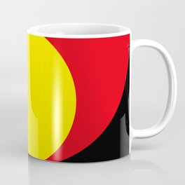 This is a sun splitting the sky in two sides, one black, one green. Spitting deep red round rays. Coffee Mug