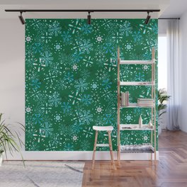 Snowflakes Falling Green Background, Christmas and Holiday Fantasy Collection Wall Mural