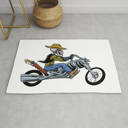 skull ride a big motorcycle Rug