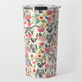Schnauzer florals dog must have gifts for schnauzers pure breed Travel Mug