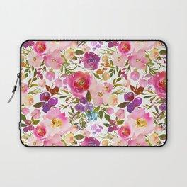 Pink violet lilac watercolor botanical floral Laptop Sleeve