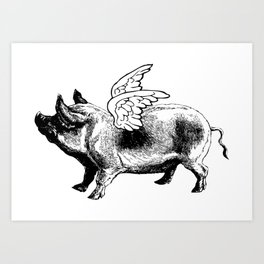 Pig with Wings | Flying Pig | When Pigs Fly | Pigs with Wings | Vintage Pig | Art Print
