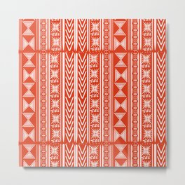 Boho Mud Cloth (Coral) Metal Print
