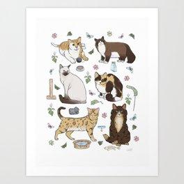 Cute Pet Cats 1 Art Print