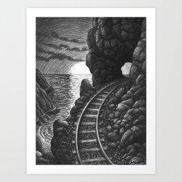 Coast train at sunrise Art Print