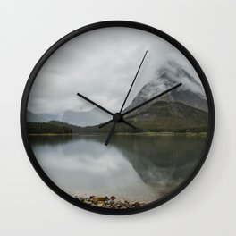 Reflection of Mountains - Glacier NP Wall Clock
