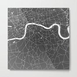 Gray on White London Street Map Metal Print