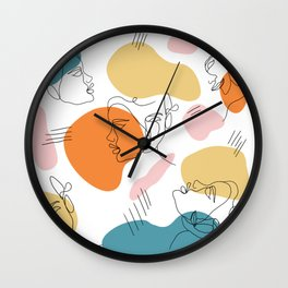 modern abstract retro faces line work illustration geometric shapes pattern Wall Clock