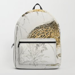 japanese quail and gentian illustration 43380645111 Backpack