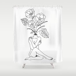 Female Form in Bloom Floral Design Shower Curtain