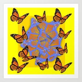 MONARCH BUTTERFLIES ABSTRACT ON YELLOW-GOLD Art Print