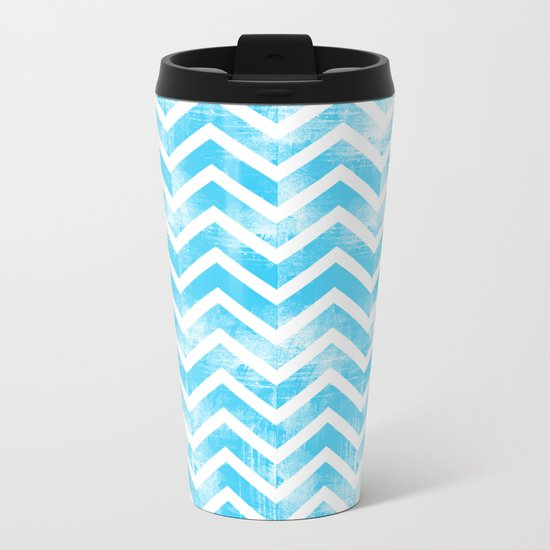 Maritime Aqua Teal Chevron Herringbone ZigZag - Mix & Match Metal Travel Mug