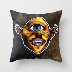 Happy Cycloptic Dog Eagle with a Stache (scratch back) Throw Pillow