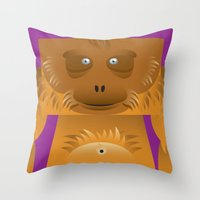 furry Throw Pillows featuring Furry Ape by Yay Paul