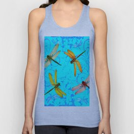DRAGONFLY WORLD IN BLUE ABSTRACT ART DESIGN Unisex Tank Top