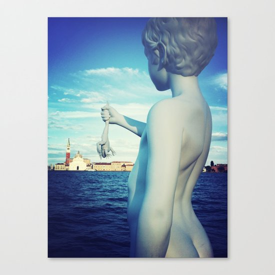 A kid and a frog in Venice Canvas Print