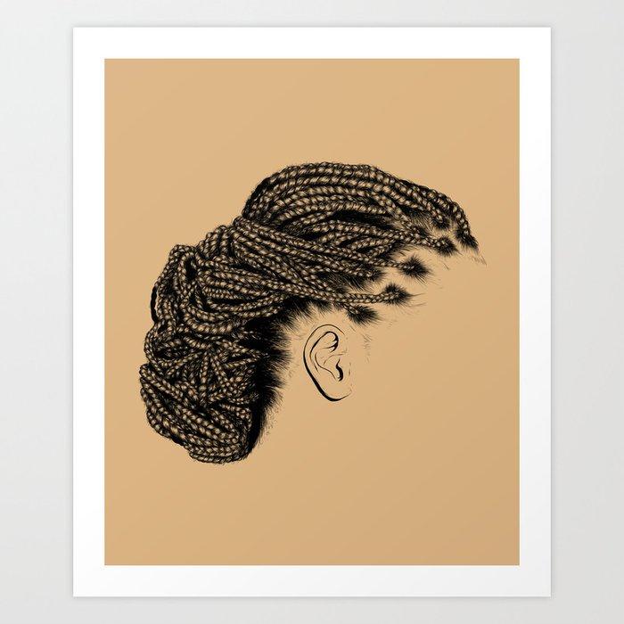 Crown: Braided Lower Messy Bun Art Print