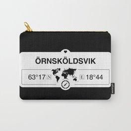 Örnsköldsvik Västernorrland GPS Coordinates Map Artwork Carry-All Pouch