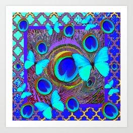 Abstract Blue Butterflies  Peacock Feather Eyes Pattern Art Art Print