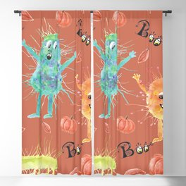 Halloween watercolor monsters Blackout Curtain